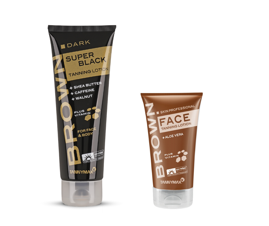 Tannymaxx Brown Super Black Tanning Lotion + Brown Face Tanning Lotion